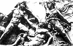 Войско амазонок во главе с Пенфесилией сражалось против греков на стороне троянцев. Фрагмент фриза храма Апполона в Бассах, V в. до н.э.